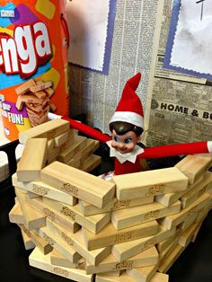Elf on the Shelf with Jenga