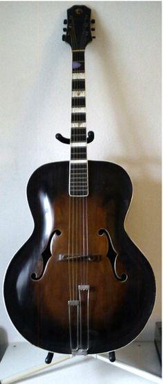 Pristine Vintage Danish Arch Top Guitar                                       Hand Built by: Johannes Møller, 1944-45.