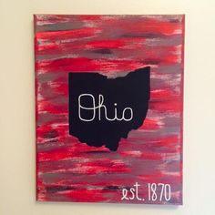 Script Ohio est. 1870  DIY Ohio State University Canvas #GoBucks #OhioStateDIY #Buckeyenation
