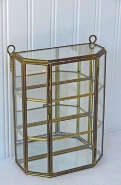 Brass And Glass Display Box Shelf Hinged Door By RedouxChic, $38.00