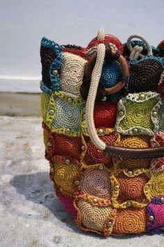 Colourful crochet bag.