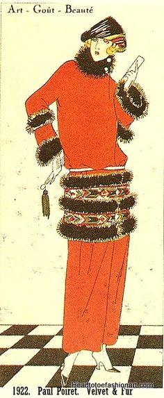 1922, Paul Poiret. Long red coat with velvet & fur bands, straight silhouette, and bobbed hairstyles.