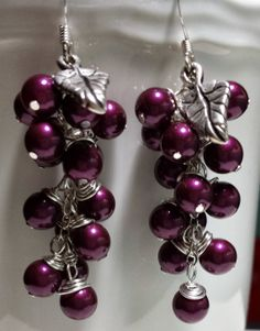 Berry Cluster Dangle Earrings by SakhiCreations on Etsy, $40.00