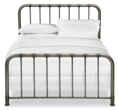 Contemporary Classic. This Pendleton complete King bed in a gorgeous gunmetal gray finish provides versatile sleeping solutions for any room. Featuring smooth, rounded shoulders and vertical tubular spindles, this simple style can be mixed and matched with any other décor in the room. Designed for efficiency, this bed is crafted with a sturdy metal frame in a stylish, dark gray color, yet beautifully serves as the perfect accent piece for a bedroom or guest space. Customer assembly required.