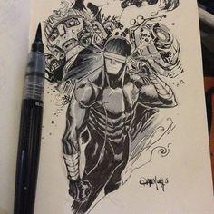 Cyclops by Dan Mora - Bēhance Cool Sketches, Drawing Sketches, Dark Knights Metal, Comic Book Style, Marvel Comics Art, Cyclops, Fantasy Illustration, Beautiful Drawings, Hero Arts
