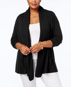 Karen Scott Plus Size Luxsoft Cable-Knit Open-Front Cardigan, Created for Macy's - Peppercorn 2X