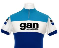 GAN ASSURANCE VINTAGE CYCLING JERSEY MAILLOT CYCLISTE MAGLIA EROICA TOP Sz L in…