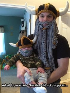 Funny pictures about Grandma's Knitted Viking Hat. Oh, and cool pics about Grandma's Knitted Viking Hat. Also, Grandma's Knitted Viking Hat photos. Funny Cute, The Funny, Hilarious, Performance Marketing, Viking S, Viking Baby, Viking Knit, Crochet Amigurumi, Crochet Hats