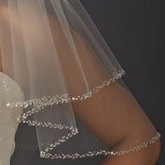 Two Layer Beaded Edge Bridal Veil will add some sparkle to your wedding ensemble!  - Affordable Elegance Bridal -