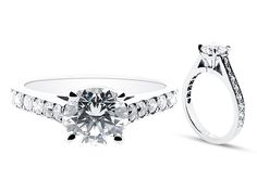 Round Brilliant Four Claw Setting with Pave Set Shoulders - ER 1279 - http://www.voltairediamonds.ie/product/melee/round-brilliant-four-claw-setting-with-pave-set-shoulders-er-1279/