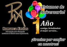 ¡Estamos de Aniversario!  Gracias a todos nuestros clientes por sus buenos comentarios y recomendaciones.  #RomarcaEnvios #EnvioDeDinero #Aniversario #SemanaAniversario #VenezolanosEnElMundo
