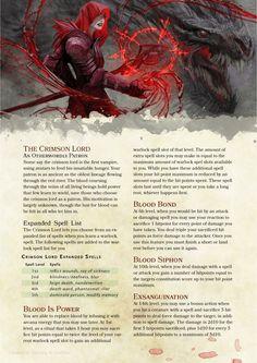 DnD 5e Homebrew — Crimson Lord warlock patron by PoundTown00