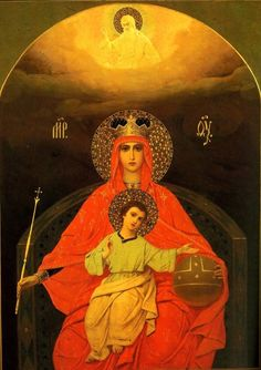 Icon of Mary Queen of Heaven.  You know her in this aspect as she is holding a septre while The Child touches the orb.