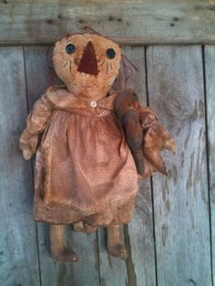 Primitive Raggedy Annie Doll With Crows #NaivePrimitive