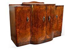 French Art Deco Burl Walnut Veneer Bar/Buffet on Chairish.com