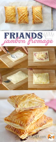 Empanadas puff pastry of ham and cheese If you like Mexican food, without a doubt . Cheese Fries, Ham And Cheese, Easy Cake Recipes, Dessert Recipes, Dinner Recipes, Cooking Time, Cooking Recipes, Cooking Bacon, Food Cakes