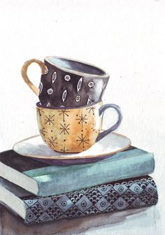 Original watercolor painting yellow and black tea cups patterns on green and…