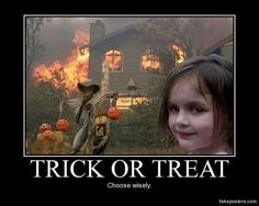 Sick & Twisted Humor: Trick or Treat. Holidays Halloween, Happy Halloween, Halloween Decorations, Halloween Humor, Modern Halloween, Halloween Town, The Quiet Ones, Dark Jokes, Scary Costumes