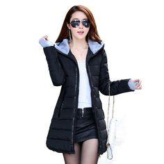 Women Long Winter Jacket Down Slim.