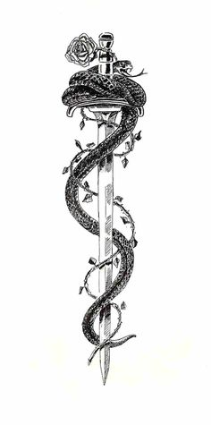 Black Ink Samurai Sword With Snake And Rose Tattoo Design