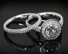 Platinum Halo Wedding Set Rings
