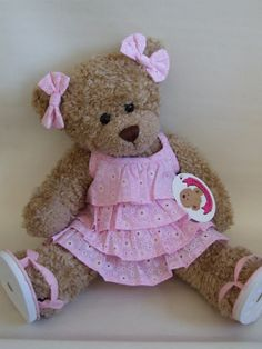 ♥•✿•♥•✿ڿڰۣ•♥•✿•♥  Image detail for -Frilled dress with 2 bows....adorable for your favorite teddy bear  ♥•✿•♥•✿ڿڰۣ•♥•✿•♥