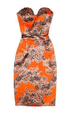 I'm about to come undone  . . . Adie Lace Print Bustier Dress by Jonathan Saunders