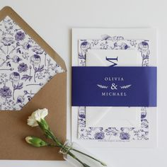 A bold wedding invitation suite with illustrative floral patterns inspired by the intricacy of Portuguese Azulejos tiles. Blue and White wedding ideas, navy and white wedding stationery, blue wedding stationery, bold floral wedding stationery, illustrative floral wedding stationery
