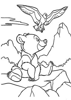 Brother Bear and hawk coloring pages for kids, printable free
