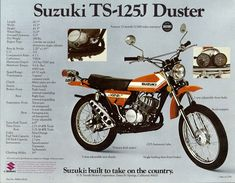 Motorcycle Posters, Motorcycle Types, Scrambler Motorcycle, Bmw Motorcycles, Vintage Motorcycles, Motorcycle Gear, Suzuki Ts125, Suzuki Bikes, Suzuki Cafe Racer