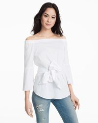 White Off-the-Shoulder Bell-Sleeve Poplin Top