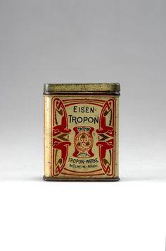 Henry Van De Velde (1863-1957) Designer - Eisen-Tropon (Food Concentrate) Box with Lid. Tin Sheet Metal with Lithographic Design. Circa 1898. 9cm x 7.3cm x 3.7cm.