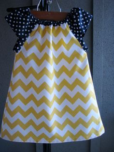 Dress - chevron zigzag yellow white navy blue polka dots girl baby toddler  0-3, 3-6, 6-12, 12-18, 18-24, 2T, 3T 4T 5T nautical Easter. $38.00, via Etsy.