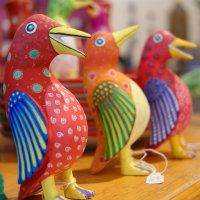 Carved & Painted Colorful Talking Birds from Oaxaca