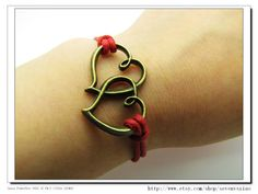 10OFF Discount  Red Ropes Steampunk Bracelet Heart by sevenvsxiao, $3.99