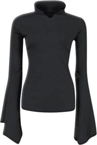 Spiral Direct Gothic Elegance Highneck Goth Sleeve Top Black