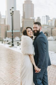 Who says you can't get married outside in the middle of winter in New England? This couple loved having a January winter wedding! Don't you love the bride's stole? It does perfectly with her sparkly, flowy dress. They wore comfy boots to walk and changed into heels for the best photo-ops. If you're looking for a Boston City Hall elopement photographer, you gotta check out Lena Mirisola! She knows all the best spots for city photos like the beautiful Seaport Harborwalk! Got Married, Getting Married, Boston City Hall, City Hall Wedding, Wedding Moments, Beautiful Couple, Hair Pieces, Photography Ideas, Wedding Inspiration
