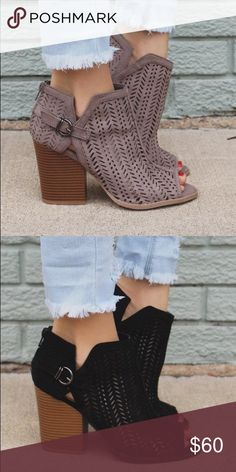Taupe Monterrey booties Our Monterrey booties are the ideal pair of peep toes for any occasion! They are a pair of faux suede, peep toe ankle booties featuring a perforated upper, buckled ankle, zipper in back and chunky heel. Pre-order please allow 5-7 days to ship. Shoes Ankle Boots & Booties