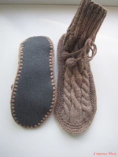 Вязаные носки на войлочной подошве Уютные Make Your Own Shoes, Moccasins, Diy And Crafts, Slippers, Socks, Flats, Knitting, How To Make, Fashion