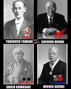 Here are the 4 founding fathers. Honda, Yamaha, Kawasaki and Suzuki. Motos Kawasaki, Suzuki Motos, Japanese Motorcycle, Retro Motorcycle, Vintage Motocross, Scrambler, Vintage Honda Motorcycles, Soichiro Honda, Stunt Bike