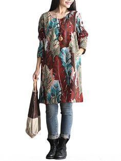 Vintage Women O Neck Long Sleeve Straight Printed Pocket Dress
