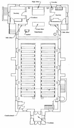 Catholic or Episcopal Church Floor Plan