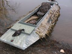 When seeing this picture apparently the blind and the boat didnt help much because he only got one duck. Bad advertising