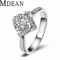 MDEAN 화이트 골드 도금 웨딩 CZ 다이아몬드 보석 럭셔리 bague 유행 보석 약혼 반지 여성 액세서리 MSR095