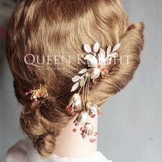 Оригинальный высококачественный 18K золото и медь красный цветок Хрустальный цветок стиль барокко невесты женился плагин гребень украшен фото - Taobao