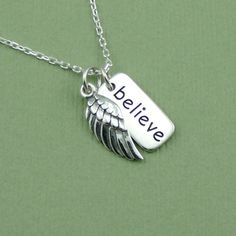Believe Wing Necklace - charm - sterling silver - angel pendant - handcrafted jewelry