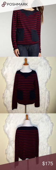 """Tory Burch Owen Striped Cashmere Sweater Tory Burch loves stripes as much as you do, so we know you'll love the Owen sweater for its navy and red pattern and casual feel. Wear it with your favorite jeans for a modern, casual look. Navy/red stripe with navy neckline and pockets. Thick boat neckline. Long sleeves. Front patch pockets with buttons. Loose, boxy fit; hem hits below hip. Pullover style. Cashmere; wool/acrylic neckline and pockets. Imported. Laid flat across @ bust: 19"""" Length…"""