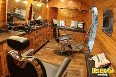 Vintage 1977 Airstream Mobile Barbershop for Sale in Alberta! Mobile Nail Salon, Mobile Beauty Salon, Brick Paneling, Faux Brick Panels, Mobile Marketing, Barbershop Design, Barbershop Ideas, Mobile Barber, Hair And Nail Salon
