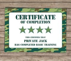 Army Party - Boot Camp or Basic Training Certificate of Completion