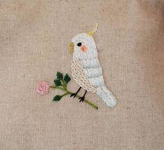 Cockatiel embroidery spicy porch